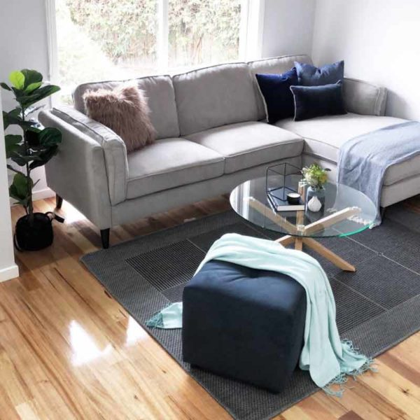 Marg Light Grey with Chaise Styled - Click on Rentals