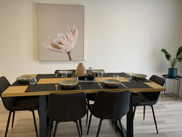 Heston 7 PCE U le Grey Chairs Styled - Click On Rental