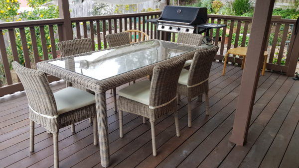 Maui 7 Pce Outdoor Dining Setting Scaled - Click On Rentals