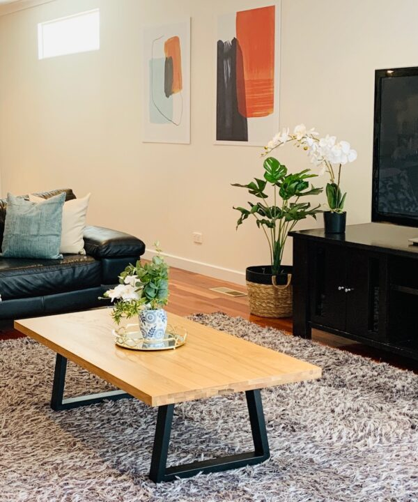 Cozy Living Room with Grey Carpet - Click on Rentals