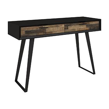 Jigsaw Console Table - Rustic Black